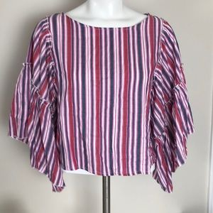 Romeo & Juliet Couture Striped Crop Bell Sleeve